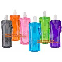 China Spouted flexible foldable water bag with carabiner for running, flexible printing and lami factory