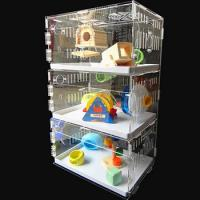 China acryl hamster cage,New style clear square household 3 steps acrylic hamster cage for sale with available price factory