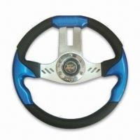 China Blue Steering Wheel of 13-inch Diameter, Made of PU, Various Colors are Available factory