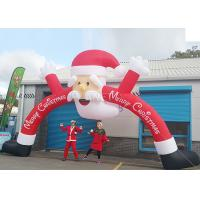 China Santa Claus Christmas Inflatable Archway 210 D Oxford Cloth For Outdoor Event factory