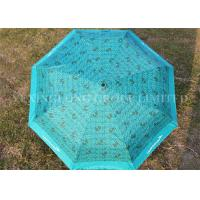 Buy cheap Full Printing Outdoor Compact Auto Umbrella , Blue Mini Travel Umbrella Three Fold from Wholesalers
