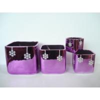 Buy cheap Purple Electroplate Ceramic Indoor Plant Pots , Square Ceramic Pots For Plants 10 X 10 X 10 Cm from Wholesalers