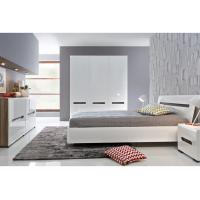 Buy cheap Alkali Resistant 3 Door Mirrored Wardrobe With Khaki High Gloss Bedroom Set from Wholesalers