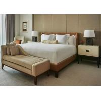Buy cheap Brown Leather Motel 6 Hotel King Bed Furniture , Fabric Bench from Wholesalers