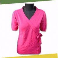 Buy cheap Women's Knitted Sweater with Short Sleeves, Made of 100% Cotton from Wholesalers