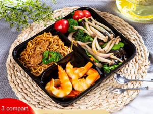China 3-Compartment Disposable Plastic food trays, takeaway containers. bento box PP material microwavable on sale