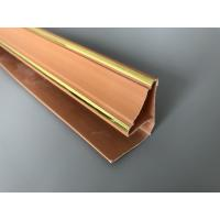 China 5.95m Length Brown PVC Extrusion Profiles With Golden Lines Top Corner Type factory