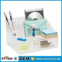 China office clear acrylic desk organizer 2 tier 3 tier acrylic pen tray multi compartment factory