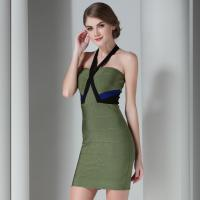 Claire 2015 Summer Sexy Bodycon Bandage Dress Army Green Halter Strapless Sleeveless Club Mini HL Bandage Dress DC1054