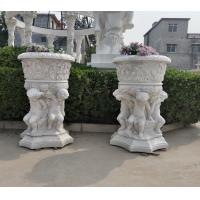China Stone carved Marble planter carved flowerpot sculpture,garden stone garden statues supplier factory