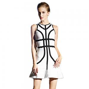 Claire Summer Fashion Rayon Elegant A Line Sleeveless Black White Woman HL Bandage Dress CD540