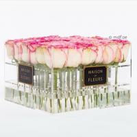 China Crystal Clear Acrylic Box with Lavender/red/pink Roses ,glowing flowers rose thick acrylic box with lid factory