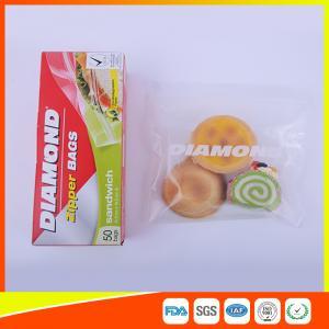 Airtight Plastic Zipper Sandwich Bags , Zip Lock Reusable Food Storage Bags