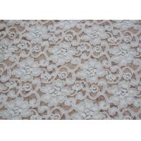 Buy cheap Fashion Brushed White Lace Fabric Flower Shape , Stretchable 135cm Width CY-LQ0042 from Wholesalers