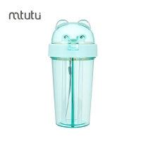 China Mtutu Green 400ml Two Plastic Straw Water Bottle factory