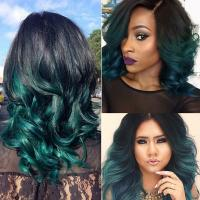 China Ombre Peruvian Human Hair Bundles With Closure 1B/Green Peruvian Body Wave Ombre Human Hair Weave With Closure factory