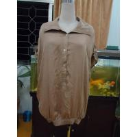 Buy cheap 100% Viscose Womens Fashion Tops Bow Back Waist Button Up Shirts  Tops Elastic Cuff from Wholesalers