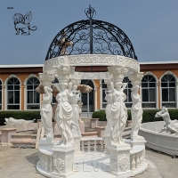 China White Garden Marble Gazebos Stone Lady Relief Columns With Iron Dorm factory