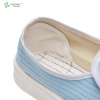 China ESD antistatic resuable PU shoes with 5mm stripe conductive fiber blue color for cleanroom workshop factory