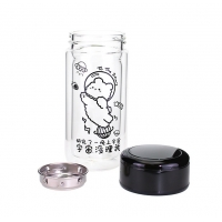 China Double Wall Tea Water Separator Glass Bottle Black Color factory