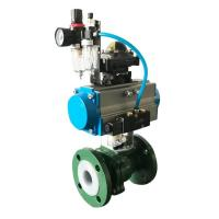 China SS Stainless Steel Corrosion Resistant Pneumatic PTFE Lined Ball Valve on sale
