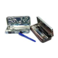 China rectangular 3D embossed pen tin box with hinged lid factory
