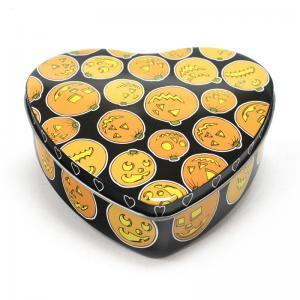 China Set Of 5 Halloween Pumpkin Heart Tins factory