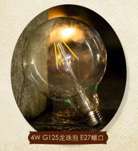 China G125 E27 6W Edison COG lamp LED Filament Bulb Light CE RoHs Dimmable factory