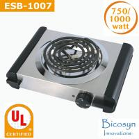 750/1000 Watt Cheap Compact Single Buffet Burner Electric Hot Plate, Black/Silver, UL, camping,school,travel stove