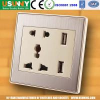 China USB socket wall Europe double USB outlet white and champagne color suit for home hotel cafes etc factory