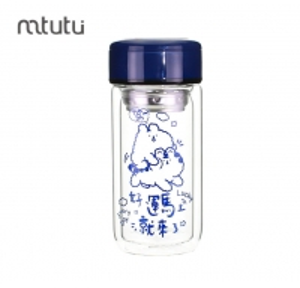 China Blue 250ml Eco Friendly Borosilicate Glass Water Bottle factory