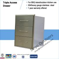 Buy cheap BBQ island component stainless steel built-in triple access drawer from Wholesalers