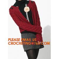 Buy cheap Red Long Womens Cardigan, Cable Knitting Lady Cashmere Pullover Knitted Sweater for Women from Wholesalers