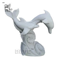 China Large White Marble Dolphin Statue Stone Garden Animal Sculpture factory