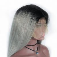 China Human Hair Straight Ombre Color Wig 1B/Grey Full Lace Wig w 100% Brazilian Remy Hair Wig factory
