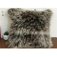 Buy cheap Tibetan Lambswool Pillow Cover Natural Long Haired Mongolian Lamb Fur Pillow from Wholesalers