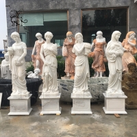 China Four Seasons Marble Statues Life Size Greek Goddess Stone Garden Sculpture factory