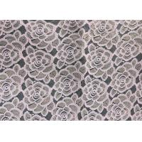 China Water soluable golden Embroidered Rose guipure Lace Fabric Textile Design 90% Nylon 10% Lycra Spandex Knitting factory