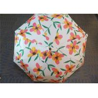Quality Auto Open 3 Fold Umbrella Travel Use With Flower Patterns Layer And Handle for sale
