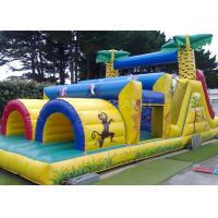 China Jungle Theme Inflatable Obstacle Course Plato 0.55 Mm PVC Material factory