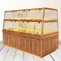 Quality Bread Cake Shop Display Showcase Wood / Glass Material With Energy Saving LED Light for sale