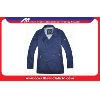 China Breathable Blue Long Trench Jacket / Mens Windbreaker Jackets with Polyester factory