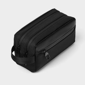 China Black PU 20x13cm Cosmetic Toiletry Bag Embossed Logo factory