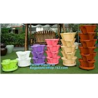 China PP Plastic materials hydroponic vertical tower stackable plastic garden pots,vertical tower farming use stacking planter factory