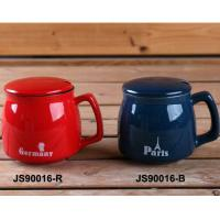 China Red 15oz Ceramic Mugs With Lid And Spoon / Ceramic Cups With Handle on sale