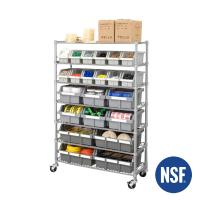 Dust Proof 7 Tier NSF Approved Industrial Wire Shelving With Storage Bin