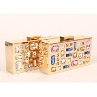Unique Golden Crystal Stone Clutch Bag For Lady Evening Party