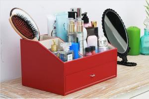 China Korean PU OEM 40*31*27 cm Desktop Cosmetic Storage Box factory