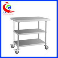 China Detachable 3 layer Stainless Steel Work Table with casters trolley factory