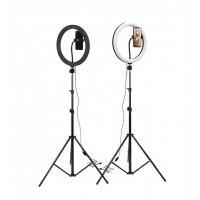China 18inch Selfie Ring Led Light Tripod Stand Adjustable And Foldable Color Temperature Adjust Brightness Dimmable factory